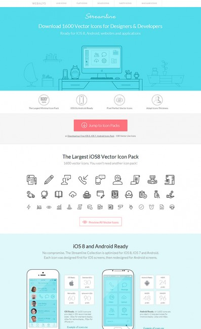 1600 Vector Icons for IOS 8 AndroidのLPデザイン