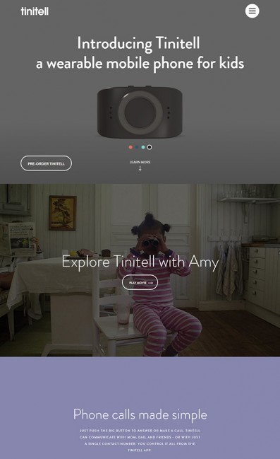 Tinitell – Wristphone for KidsのLPデザイン