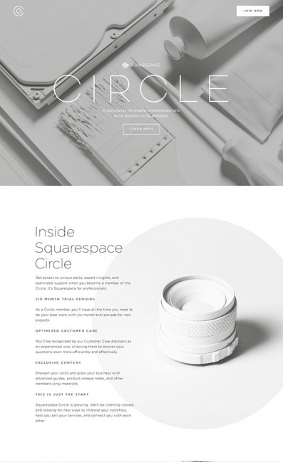 Squarespace CircleのLPデザイン