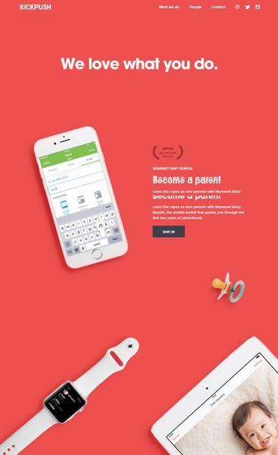 Kickpush | Product design studioのLPデザイン