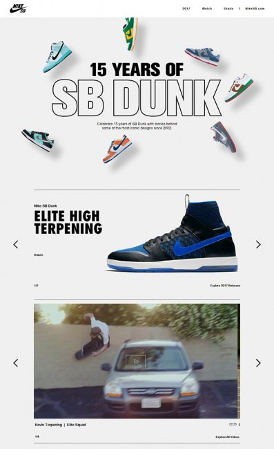 15 Years of Nike SB Dunk. Nike.comのLPデザイン
