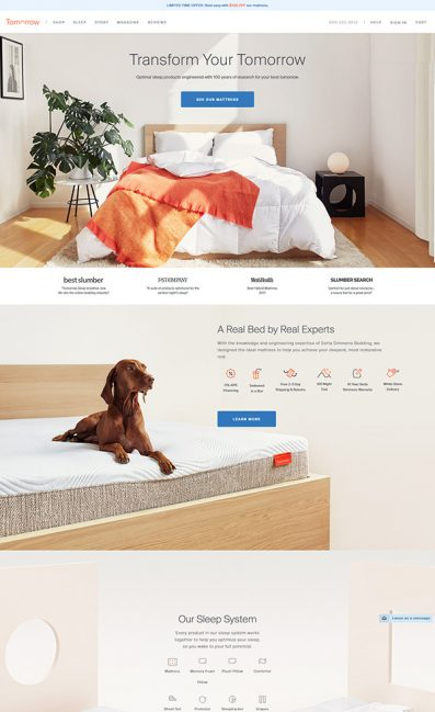 The Best Sleep System for Better Sleep | Tomorrow SleepのLPデザイン