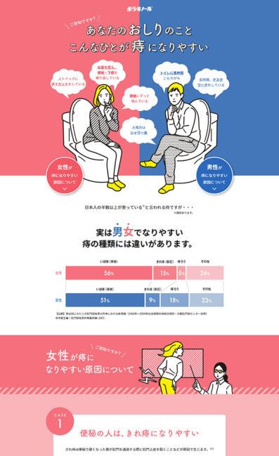 ご存知ですか?男と女の痔の違い。こんな人が痔になりやすいのLPデザイン